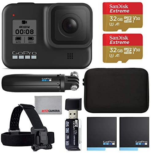 51hVZLVtdKL. AC  - GoPro Hero 8 Action Camera with 2 Total Batteries, Two Sandisk 32GB Extreme MicroSD Cards, GoPro Shorty Tripod, Head Mount Strap, Camera Case, Card Reader and Cleaning Cloth