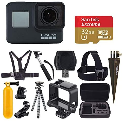 51hoXm+aDEL. AC  - GoPro HERO7 Black Digital Action Camera with 4K HD Video 12MP Photos, SanDisk 32GB Micro SD Card, Hard Case - Accessory bundle