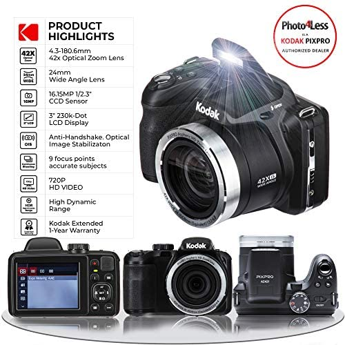 51iuUTLdD5L. AC  - Kodak PIXPRO AZ421 Digital Camera (Black) + Point & Shoot Camera Case + Transcend 32GB SD Memory Card + Extra Battery & Charger + USB Card Reader + Table Tripod + Accessories