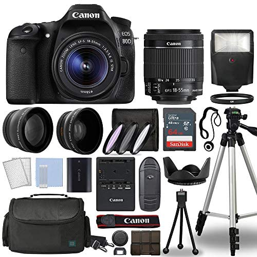 51iucdl jdL. AC  - Canon EOS 80D Digital SLR Camera Body with Canon EF-S 18-55mm f/3.5-5.6 is STM Lens 3 Lens DSLR Kit Bundled with Complete Accessory Bundle + 64GB + Flash + Case/Bag & More - International Model