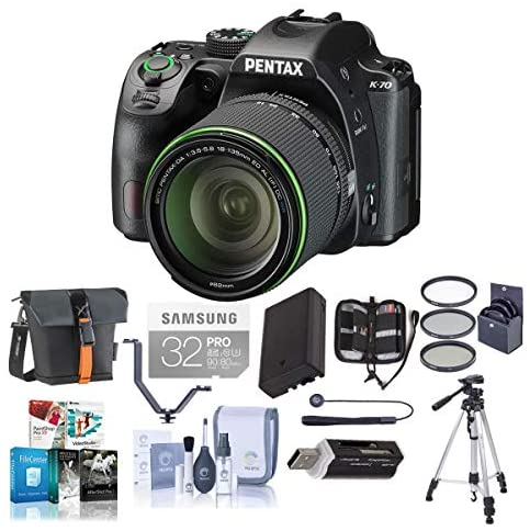 51llKX A4vL. AC  - Pentax K-70 24MP Full HD DLR Camera with SMC DA 18-135mm f/3.5-5.6 ED AL DC WR Lens, Black - Bundle with Holster Case, Spare Battery, Tripod, 62mm Filter Kit, Cleaning Kit, Software Package and More