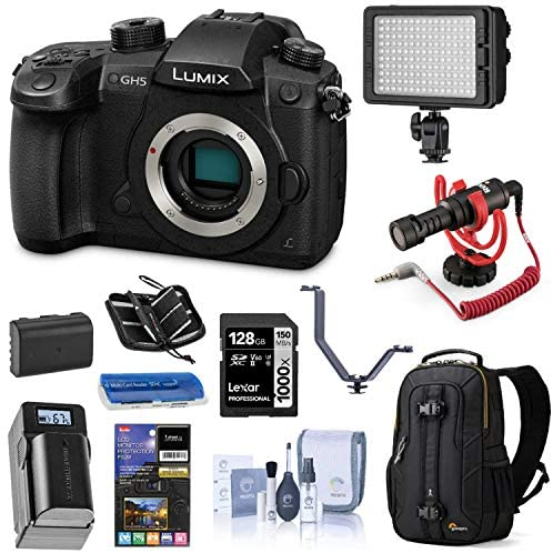 51oW90w0FmL. AC  - Panasonic LUMIX GH5 4K Mirrorless Digital Camera, 20.3 Megapixel DC-GH5 (Body), Essential Bundle with LED Light, RODE VideoMicro Mic, Backpack, Battery, Charger, 128GB SD Card and Accessories