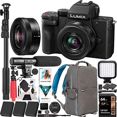 51sVRQ eP9L. AC  - Panasonic DC-G100KK LUMIX G100 Mirrorless 4K Vlogging Camera with 12-32mm F3.5-5.6 Lens 3 Battery Bundle Deco Gear Backpack + Photo Video LED + Microphone + Monopod + 64GB Software Kit & Accessories