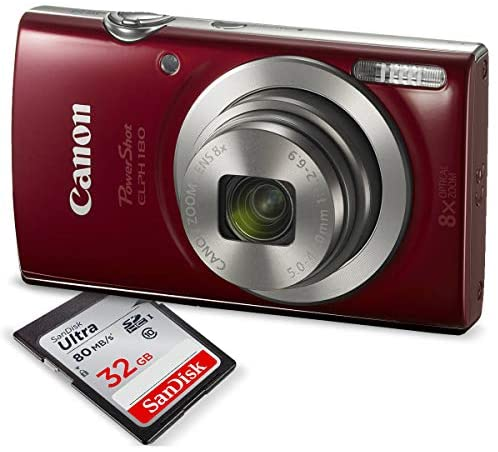 51w24HqDP6L. AC  - Canon PowerShot ELPH 180 Digital Camera (Red) w/ 32GB SD Card