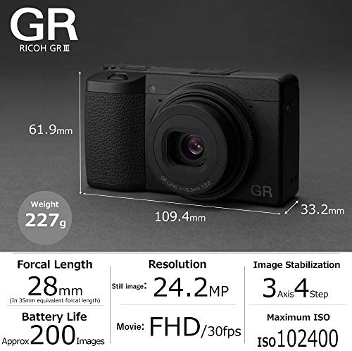 51xMd1EWsML. AC  - Ricoh GR III Digital Compact Camera, 24mp, 28mm F 2.8 Lens with Touch Screen LCD