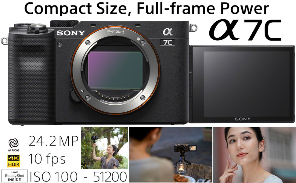 a9962785 fc07 4fe2 8f8f 892f891e1f3c.  CR0,0,970,600 PT0 SX970 V1    - Sony a7C Mirrorless Full Frame Camera Alpha 7C Interchangeable Lens Body Only Black ILCE7C/B Bundle with Deco Gear Case + Extra Battery + Flash + Filters + 64GB Card + Software Kit and Accessories