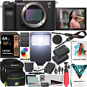b7cd520f 3cda 4372 93e1 f95b0c8dd8d6.  CR0,0,1200,1200 PT0 SX300 V1    - Sony a7C Mirrorless Full Frame Camera Alpha 7C Interchangeable Lens Body Only Black ILCE7C/B Bundle with Deco Gear Case + Extra Battery + Flash + Filters + 64GB Card + Software Kit and Accessories