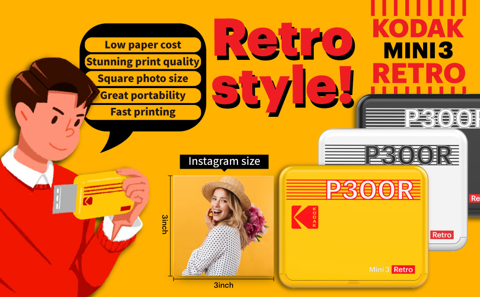"""1622253312 531 43a7cd32 f29b 4c20 899e ab4c9ee436dc.  CR0,0,970,600 PT0 SX970 V1    - Kodak Mini 3 Retro 3x3"""" Portable Photo Printer (60 Sheets), Compatible with iOS, Android & Bluetooth Device, Real Photo 4PASS Technology & Laminating Process, Photos – White"""