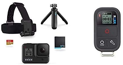 317cDrLtXrL. AC  - GoPro Hero8 Action Camera Holiday Bundle with Remote Includes Camera, Shorty Handle, Headstrap, 32GB SD Card, Remote, and 2 Batteries