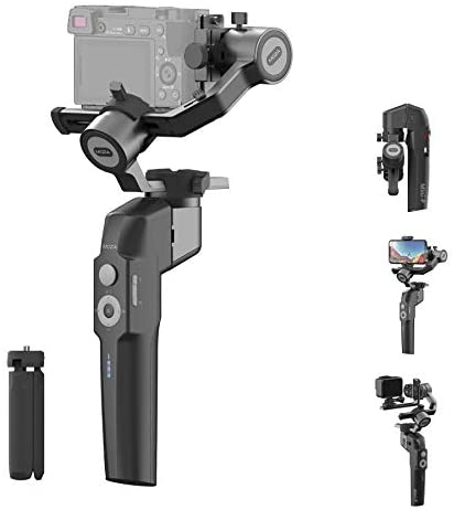 41+a6nanDZL. AC  - MOZA Mini P Gimbal Stabilizer Handheld 3 Axis Gimbal 4-in-1 for Mirrorless&Compact Camera for iPhone Android Smartphone for Action Camera GoPro up to 1.98Lb Payload