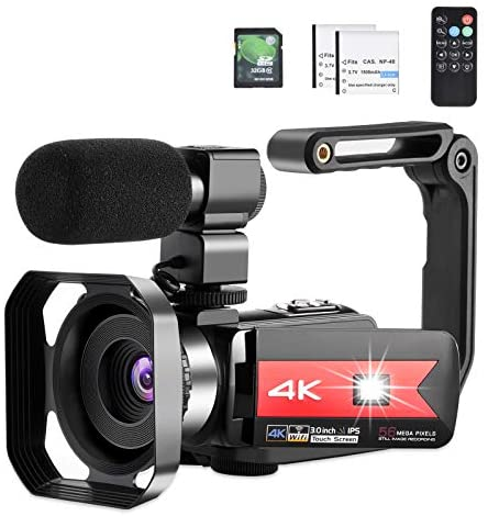 412SxGGFLJL. AC  - OIEXI Video Camera 4K Camcorder Vlog Camera for YouTube, HD Digital Camera with 16X Digital Zoom and Night Vision, Video Recorder with Microphone (32GB SD Card, 2 Batteries Included