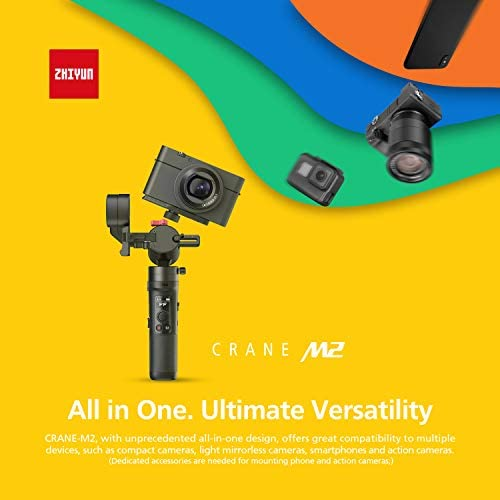 41FchEftjeL. AC  - Zhiyun Crane M2 Crane-M2 Gimbal [Official Dealer], 3 Axis Handheld Gimbal for Mirrorless Cameras/Smartphone/Action Cameras for Sony A6000/A6300/A6400/A6500/Canon M6/G7 X Mark II, for GoPro Hero 7/6/5