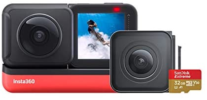 41HjWC8di5L. AC  - Insta360 ONE R Twin Edition Memory Card Bundle – 4K Action Camera & 5.7K 360 Camera with Interchangeable Lenses, Stabilization, IPX8 Waterproof, Touch Screen, AI Editing