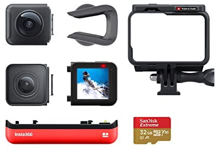 41Jlm7eMZQL. AC  - Insta360 ONE R Twin Edition Memory Card Bundle – 4K Action Camera & 5.7K 360 Camera with Interchangeable Lenses, Stabilization, IPX8 Waterproof, Touch Screen, AI Editing