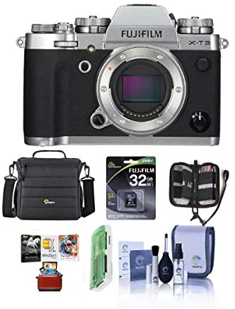 41P89mx73fL. AC  - Fujifilm X-T3 Mirrorless Camera Body, Silver - Bundle with 32GB SDHC U3 Card, Camera Case, Cleaning Kit, Memory Wallet, Card Reader, Mac Software Package