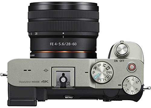 41RxFDC3veL. AC  - Sony a7C Mirrorless Full Frame Camera Body with 28-60mm F4-5.6 Lens Silver ILCE7CL/S Bundle + Vlogger Kit ACCVC1: GP-VPT2BT Shooting Grip w. Wireless Remote + 2X Battery + Deco Gear Bag & Accessories