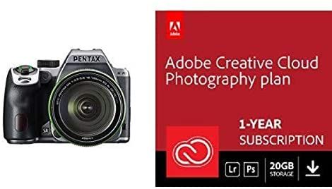 41f6ZjudoUL. AC  - Pentax K-70 Weather-Sealed DSLR Camera with 18-135mm Lens (Silver) with Adobe Creative Cloud Photography Plan 20 GB (Photoshop+Lightroom) 12-Month Subscription