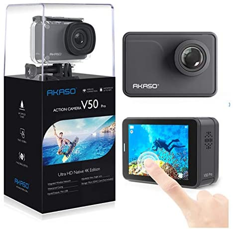 41hK1Jo5NhL. AC  - AKASO V50 Pro Native 4K30fps 20MP WiFi Action Camera with EIS Touch Screen 100 feet Waterproof Camera Web Camera Support External Mic Remote Control Sports Camera with Helmet Accessories Kit