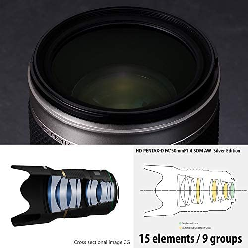 41qXpoVF9xL. AC  - HD Pentax-D FA50mmF1.4 SDM AW Silver Edition: Limited Quantity New-Generation Prime Lens from The, Star-Series, Featuring The Latest PENTAX Lens Coating Technologies Extra-Sharp, high-Contrast Images