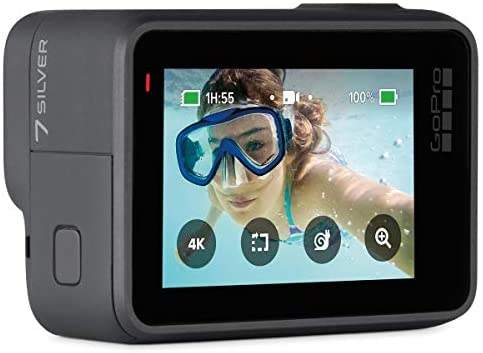 41qpNINMbrL. AC  - GoPro HERO7 Silver - Waterproof Digital Sports and Action Camera with Touch Screen 4K HD Video 10MP Photos, Bundle with Floating Hand Grip, 2 Extra Batteries + 64GB microSD Card + Cleaning Cloth