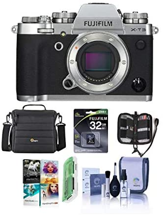 41tnPxZHXiL. AC  - Fujifilm X-T3 Mirrorless Camera Body, Silver - Bundle with 32GB SDHC U3 Card, Camera Case, Cleaning Kit, Memory Wallet, Card Reader, Pc Software Package