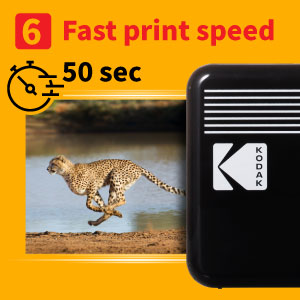 """4419cd3f a219 4619 b0e9 c1dd884cfa63.  CR0,0,300,300 PT0 SX300 V1    - Kodak Mini 2 Retro 2.1x3.4"""" Portable Photo Printer (60 Sheets), Wireless Connection, Compatible with iOS, Android & Bluetooth, Real Photo, 4PASS & Lamination Process, Premium Quality- Black"""