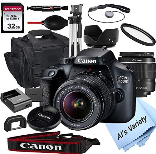 510c SaUDLL. AC  - Canon EOS 4000D DSLR Camera with 18-55mm f/3.5-5.6 Zoom Lens + 32GB Card, Tripod, Case, and More (18pc Bundle)