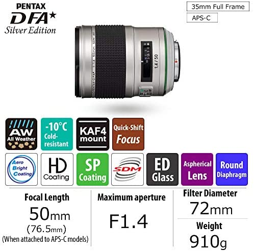 511lElJOUDL. AC  - HD Pentax-D FA50mmF1.4 SDM AW Silver Edition: Limited Quantity New-Generation Prime Lens from The, Star-Series, Featuring The Latest PENTAX Lens Coating Technologies Extra-Sharp, high-Contrast Images