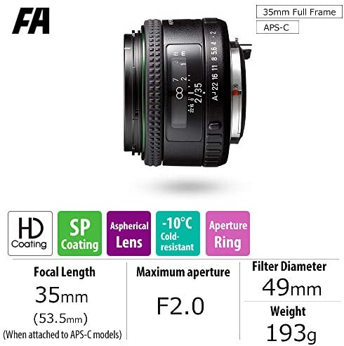 511sANAWNKL. AC  - HD PENTAX-FA35mmF2 Versatile Wide-Angle Lens Latest HD Coating minimizes Flare and Ghost SP Coating to Repel Stains New Exterior Design Hybrid aspherical Lens for Extra-Clear, high-Contrast Images