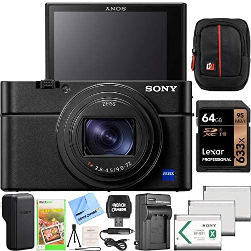 511t318doiL. AC  - Sony Cyber-Shot RX100 VII RX100M7 Premium Compact Camera DSC-RX100M7 24-200mm Zoom Lens Essential Bundle with Triple 3X Battery Pack + 64GB Memory Card + Deco Gear Travel Case Accessory Kit