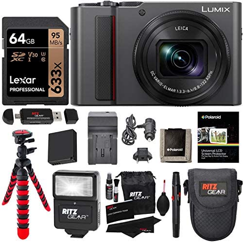 5127h7no4bL. AC  - Panasonic Lumix DC-ZS200S Digital Camera (Silver) with 64GB Memory Card, Tabletop Tripod, Camera Case, Flash, Cleaning Kit, Battery, Charger Kit and More