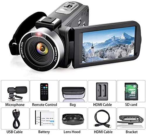 512DdNXZO+L. AC  - OIEXI Video Camera 4K Camcorder Vlog Camera for YouTube, HD Digital Camera with 16X Digital Zoom and Night Vision, Video Recorder with Microphone (32GB SD Card, 2 Batteries Included