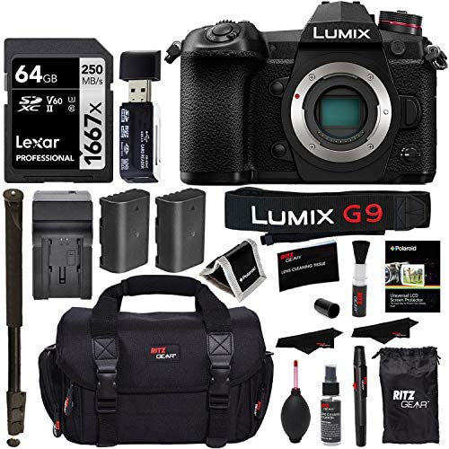 "514JGL+iR3L. AC  - Panasonic Lumix G9 Mirrorless Camera Body 20.3 MP G9KBODY, Lexar 64GB High Speed SD Card U3, Polaroid 72"" Monopod, Spare Battery, Battery Charger, Ritz Gear Cleaning Kit and Accessory Bundle"