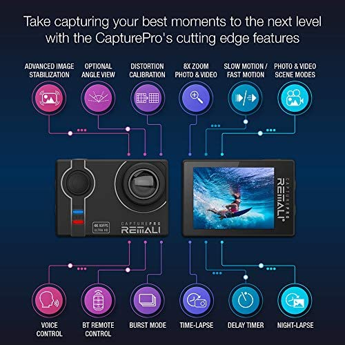 """515kw1h3MAL. AC  - REMALI CapturePro 4K/60fps 20MP Waterproof Sports Action Camera Kit with Carrying Case + 3 Batteries, WiFi, 2"""" Touch Screen, 8X Zoom, Slow/Fast Motion, Remote/Voice Control, EIS, Distortion Correction"""