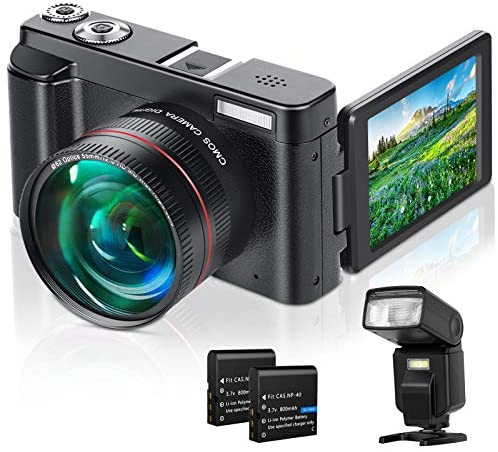 """517n4e5CQ6L. AC  - Lecran Digital Camera, Video Camera FHD 1080P 30FPS 24MP Video Camcorder, YouTube Vlogging Camera with IR Night Vision, 2.88"""" Flip Screen, Speedlite Flash and Wide Angle Lens"""