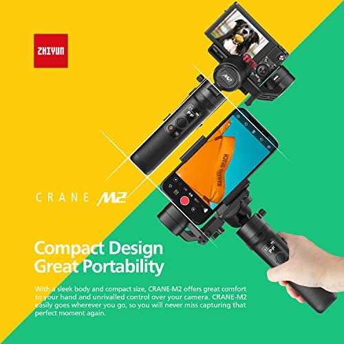 519FYu1jvNL. AC  - Zhiyun Crane M2 Crane-M2 Gimbal [Official Dealer], 3 Axis Handheld Gimbal for Mirrorless Cameras/Smartphone/Action Cameras for Sony A6000/A6300/A6400/A6500/Canon M6/G7 X Mark II, for GoPro Hero 7/6/5