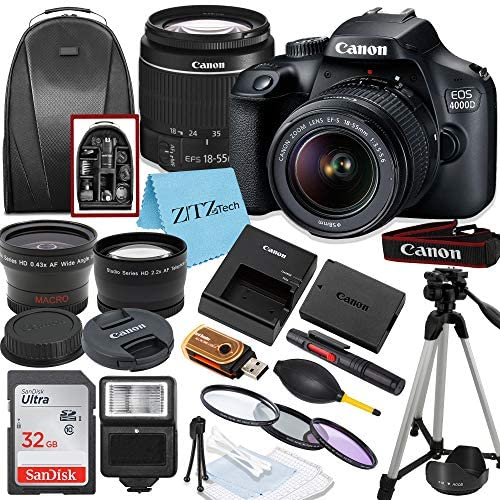 519Y4NR1FyL. AC  - Canon EOS 4000D / Rebel T100 DSLR Camera with EF-S 18-55mm Lens, 32GB SanDisk Memory Card, Tripod, Flash, Backpack and ZeeTech Accessory Bundle