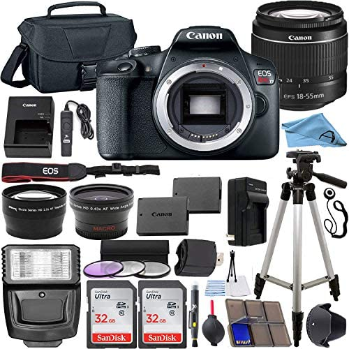 519iC21mLyL. AC  - Canon EOS Rebel T7 24.1 MP DSLR Digital Camera with Canon EF-S 18-55mm Lens + 2 pc SanDisk 32GB Memory Cards + Camera Bag + Flash Light + Accessory Bundle