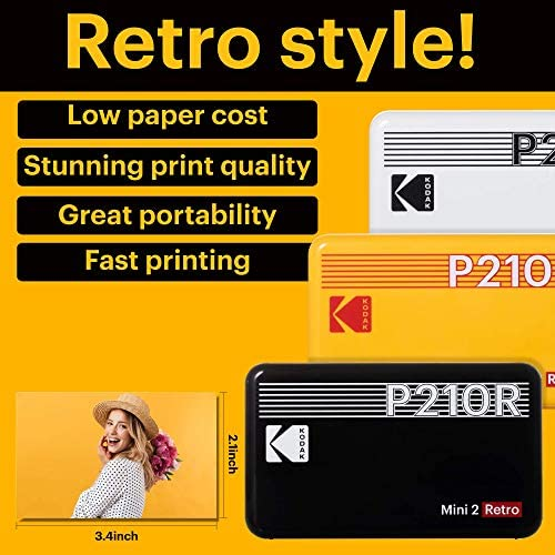 """51Ah o6zxuL. AC  - Kodak Mini 2 Retro 2.1x3.4"""" Portable Photo Printer (60 Sheets), Wireless Connection, Compatible with iOS, Android & Bluetooth, Real Photo, 4PASS & Lamination Process, Premium Quality- Black"""