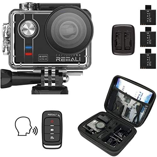 """51CcIs7XuxL. AC  - REMALI CapturePro 4K/60fps 20MP Waterproof Sports Action Camera Kit with Carrying Case + 3 Batteries, WiFi, 2"""" Touch Screen, 8X Zoom, Slow/Fast Motion, Remote/Voice Control, EIS, Distortion Correction"""
