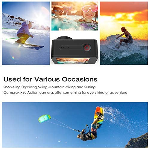 51DAc6VukAL. AC  - Campark X30 Action Camera Native 4K 60fps 20MP WiFi with EIS Touch Screen Waterproof Camera 40M, 2x1350mAh Batteries and Professional Accessories