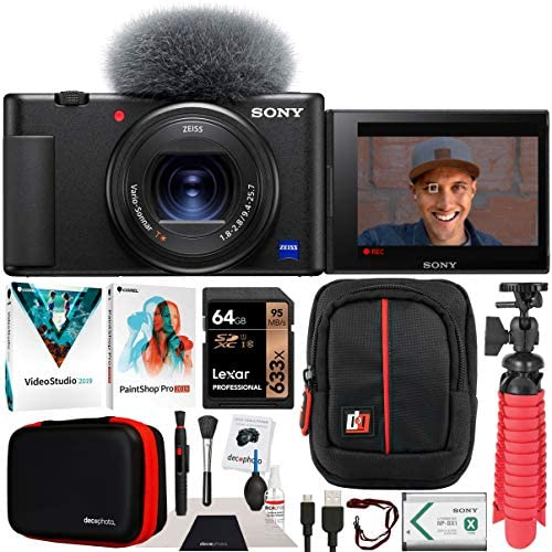 51DTf9P0LuL. AC  - Sony ZV-1 Compact Digital Vlogging 4K HDR Video Camera for Content Creators & Vloggers DCZV1/B Bundle with Deco Gear Case + Software Kit + 64GB Card + Compact Tripod/Handheld Grip and Accessories
