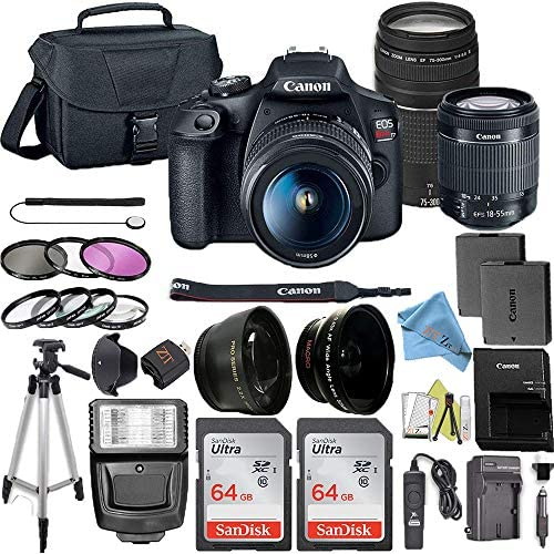 51EMf0JWEaL. AC  - Canon EOS Rebel T7 DSLR Camera Bundle with Canon 18-55mm Lens + Canon EF 75-300mm f/4-5.6 III Lens + 2pc SanDisk 64GB Memory Cards + Accessory Kit