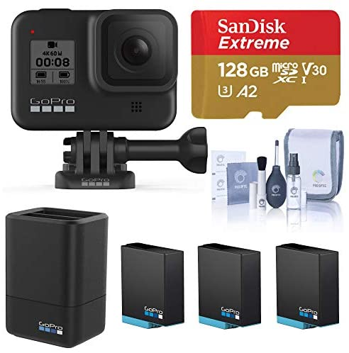 51GkFtbf+oL. AC  - GoPro HERO8 Black, Waterproof Digital Sports and Action Camera with Touch Screen 4K UHD Video 12MP Photos, Power Bundle with Dual Charger, 3 Batteries, 128GB microSD Card, Cleaning Kit