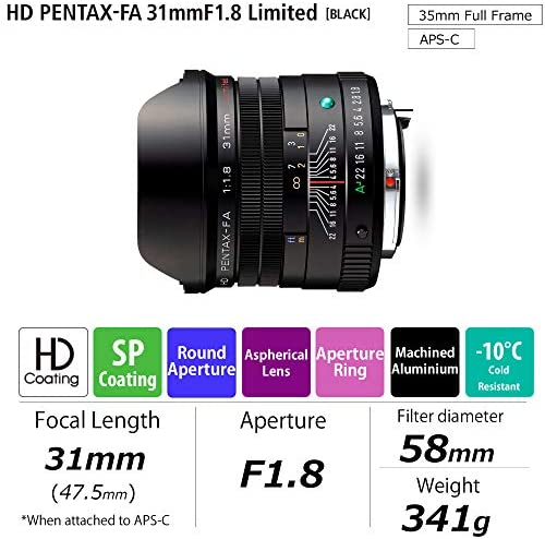 51K42KMdHqL. AC  - Pentax HD 31mmF1.8 Limited Black Limited Lens Wide-Angle Prime Lens [F1.8 Large Aperture Lens] [High-Performance HD Coating] [SP Coating] [Round-Shaped Diaphragm] [Machined Aluminum Body ] (20210)