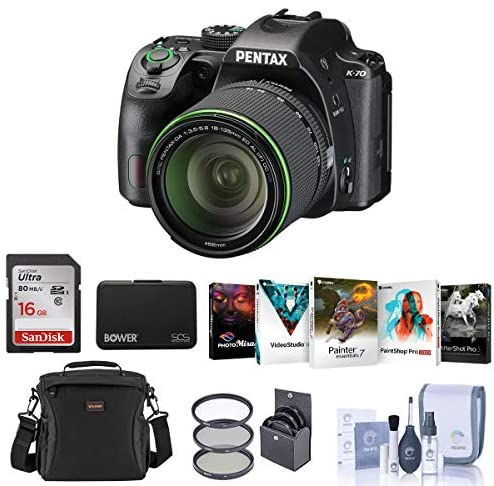 51K5A8qZ OL. AC  - Pentax K-70 24MP Full HD DLR Camera with SMCP-DA 18-135mm f/3.5-5.6 ED AL DC WR Lens, Black - Bundle with 16GB SDHC Card, Camera Bag, 62mm Filter Kit, Cleaning Kit, Memory Wallet, Software Package