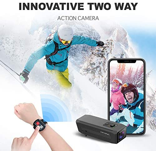 51Kcry4NuwL. AC  - REXING A1 Two Way 2.7K Action Camera Front & Back 1080p@30fps w/WiFi/Wide Angle/Wrist Remote Control/Waterproof Extreme Sports Camcorder for Motorcycles/Bicycle/Sport Bike/Hiking/Cars