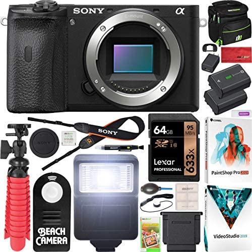 51LBz356jwL. AC  - Sony a6600 Mirrorless Camera 4K APS-C Body Only Interchangeable Lens Camera ILCE-6600B with Deco Gear Case + Extra Battery + Flash + Wireless Remote + 64GB Memory Card + Software + Accessories Bundle