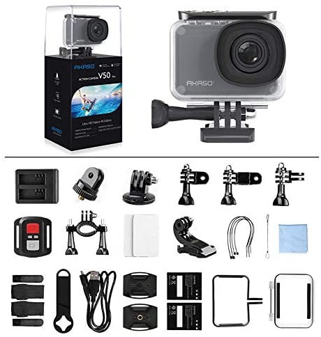 51LUVq8XvlL. AC  - AKASO V50 Pro Native 4K30fps 20MP WiFi Action Camera with EIS Touch Screen 100 feet Waterproof Camera Web Camera Support External Mic Remote Control Sports Camera with Helmet Accessories Kit