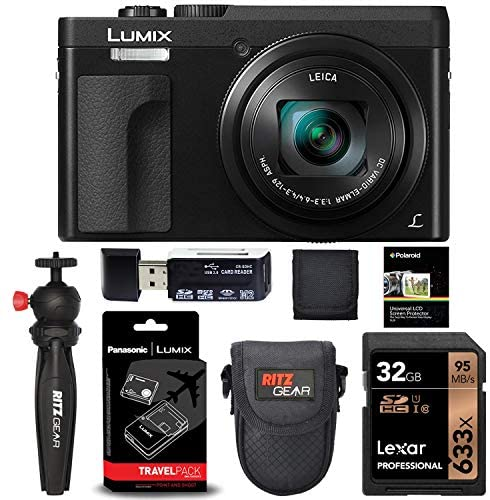 51MawY2MJEL. AC  - Panasonic Lumix ZS70 20.3 Megapixel, 4K Digital Camera, Touch Enabled 3-inch 180 Degree Flip-Front Display, 30X Leica DC Lens (Black) + DMW-ZSTRV Battery Charger + Lexar 32 GB Card + Tabletop Tripod